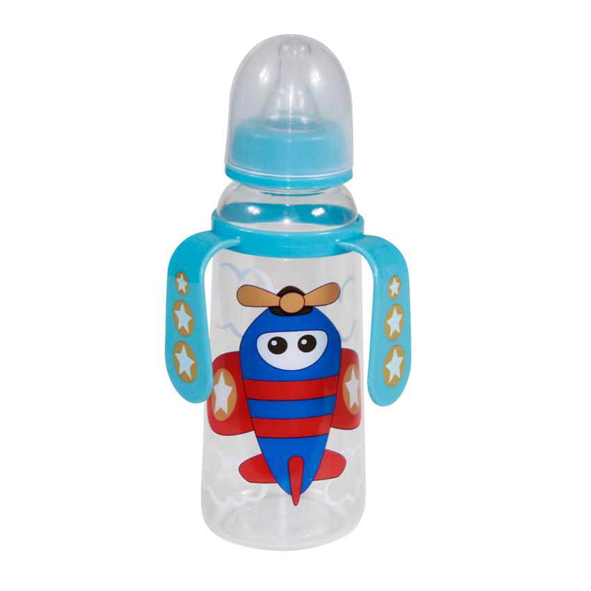 Detská kojenecká fľaša s uškami Lorelli 250 ml BLUE PLANE
