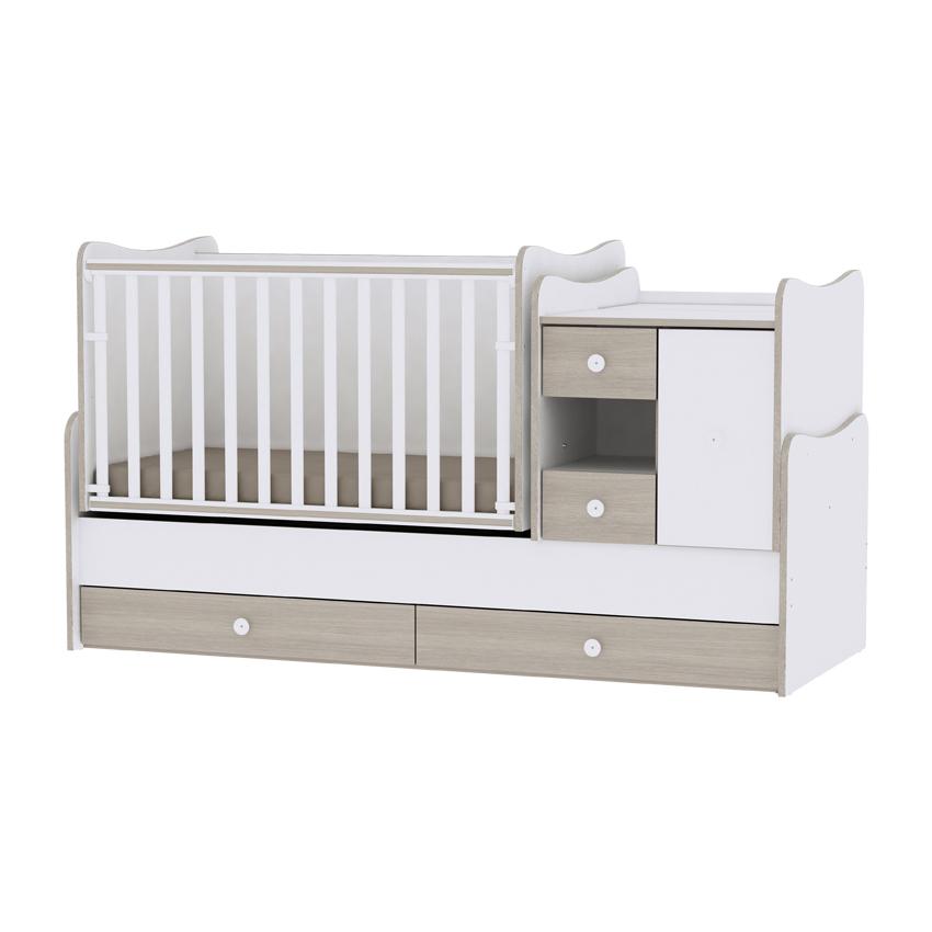Multifunkčná detská postieľka Lorelli MINI MAX New 190x72 WHITE/AMBER