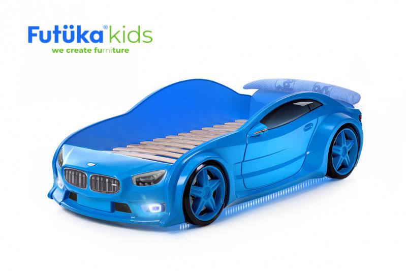 Dětská postel auto Futuka kids EVO MOTOR + LED světlomety + Spodní světlo + Spojler MODRÁ