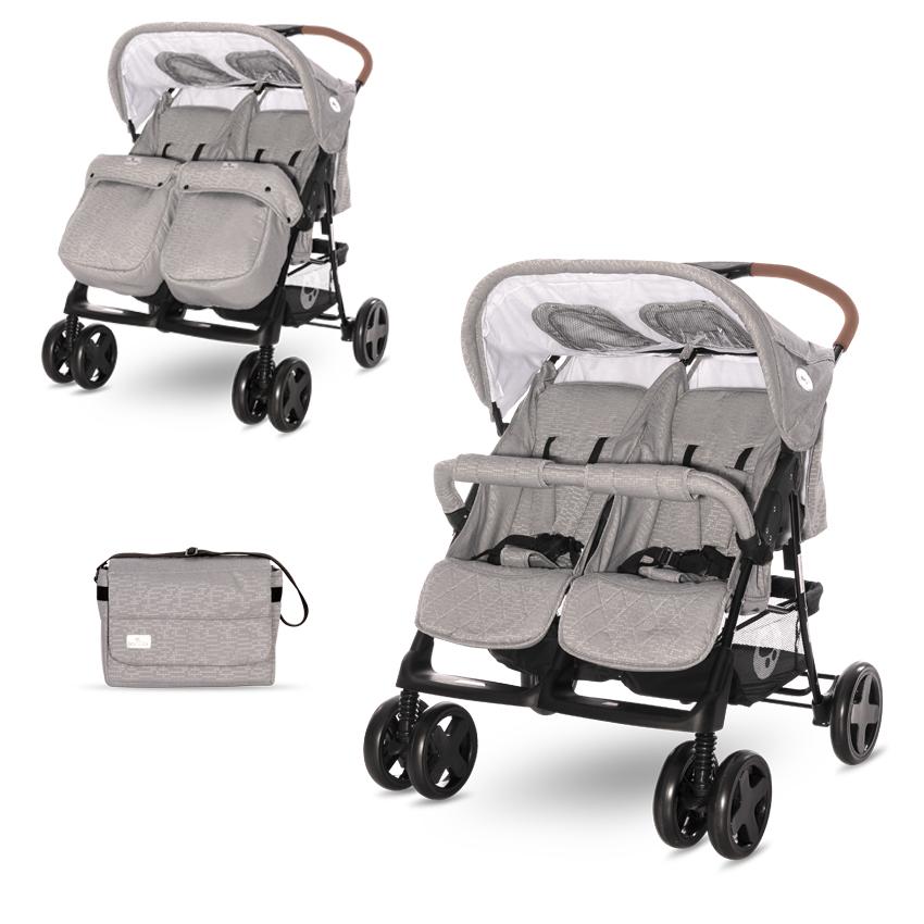 Kočík pre dvojčatáLorelli TWIN STEEL GREY + Taška na kočík