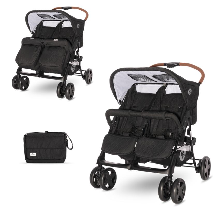Kočík pre dvojčatá Lorelli TWIN BLACK + Taška na kočík
