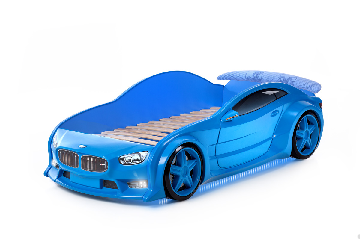 Postýlka auto EVO  modrá, LED světla, Spodní světlo, Spojler