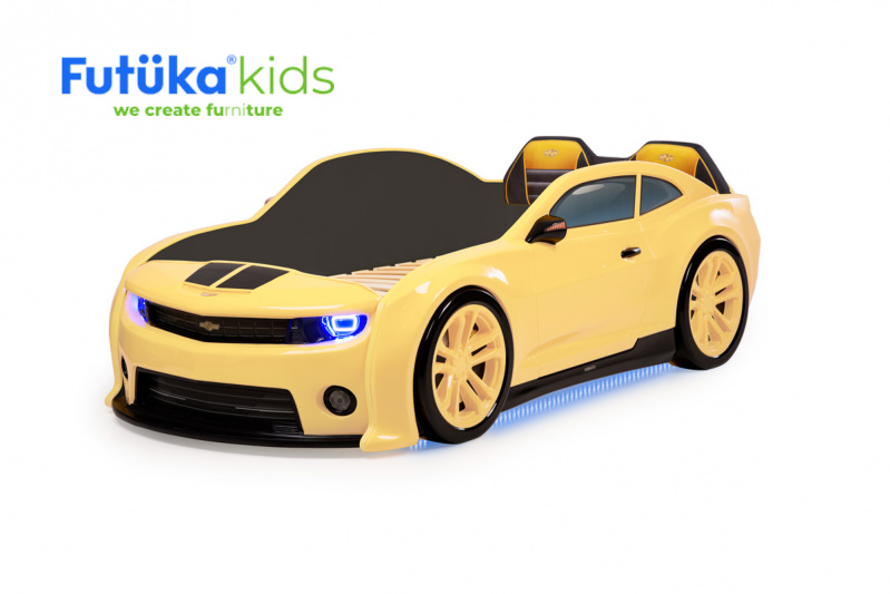 Dětská postel auto Futuka kids EVO CMR + Zvedací mechanismus + LED světlomety + Spodní světlo + Měkké opěradlo ŽLUTÁ