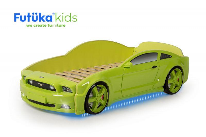 Postýlka auto LIGHT 3D F-MUSTANG zelená
