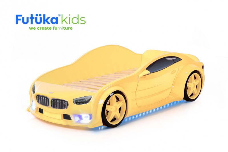 Dětská postel auto Futuka kids EVO MOTOR + LED světlomety + Spodní světlo ŽLUTÁ