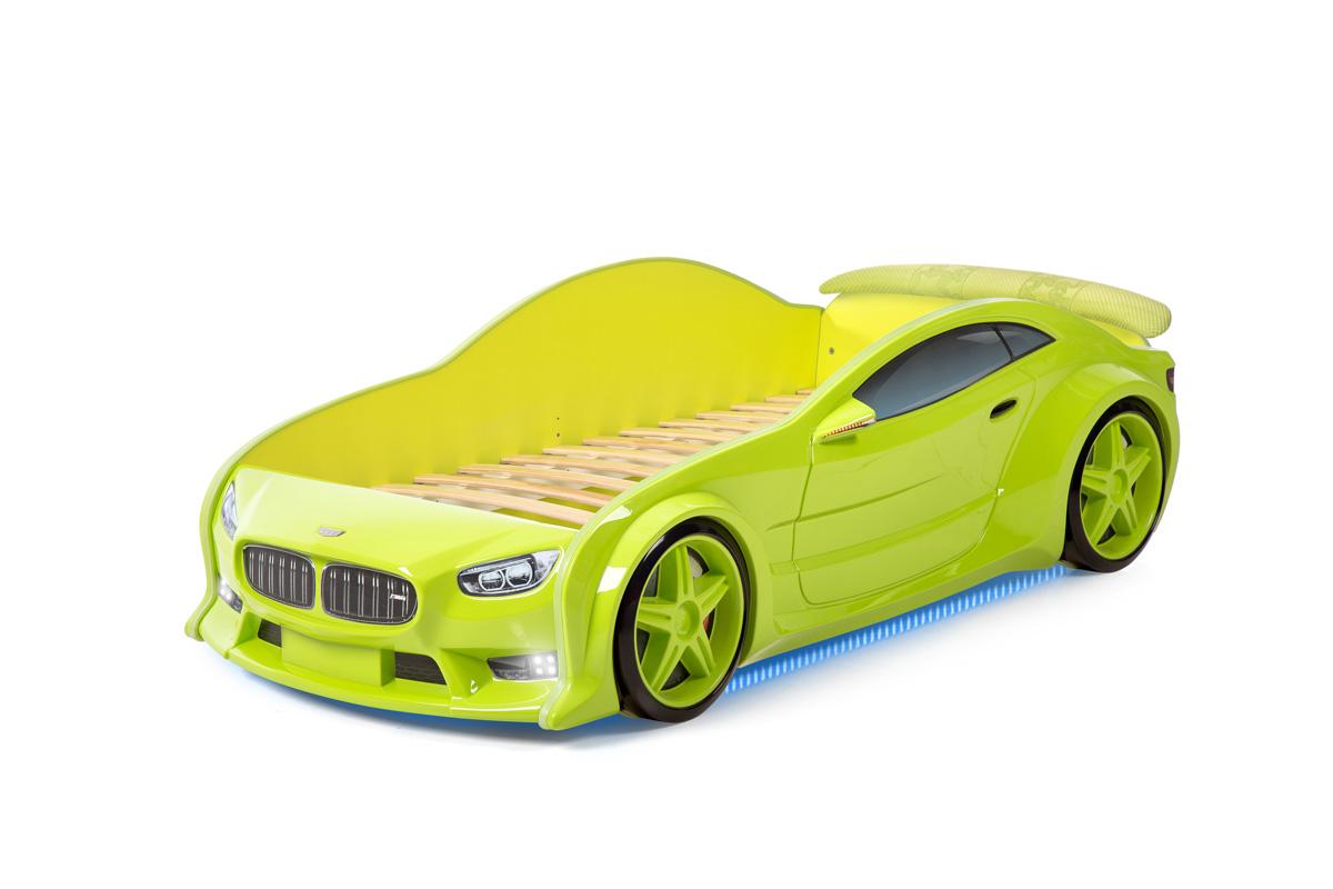 Postýlka auto EVO  zelená, LED světla, Spodní světlo, Spojler