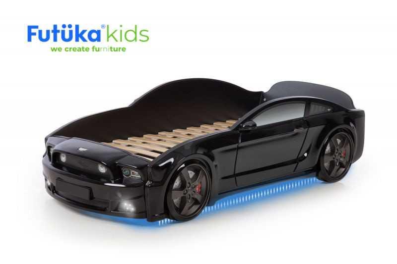 Postel auto LIGHT 3D F-Mustang černá, LED světla, Spodní světlo