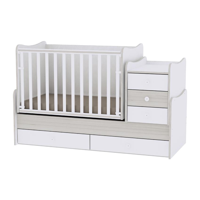 Dětská postýlka MAXI PLUS NEW 70/160 WHITE/LIGHT OAK