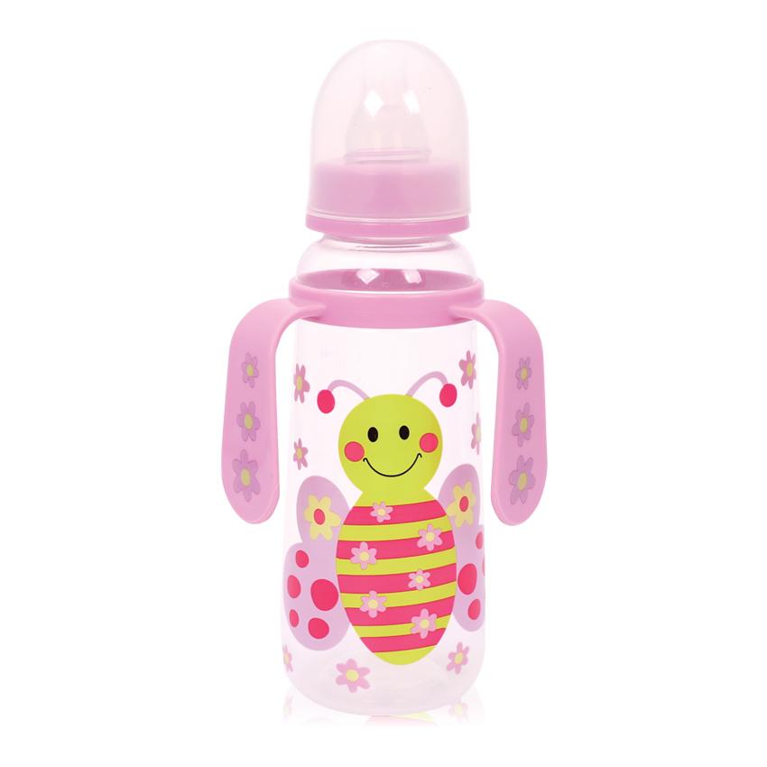 Detská fľaša s uškami Lorelli 250 ml PINK BUTTERFLY