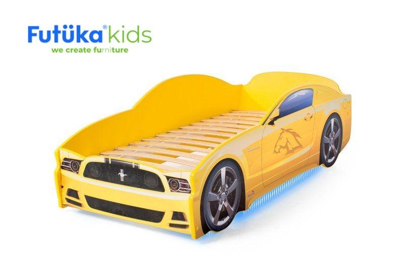 Postel auto LIGHT  F-Mustang  žlutá, Spodní světlo
