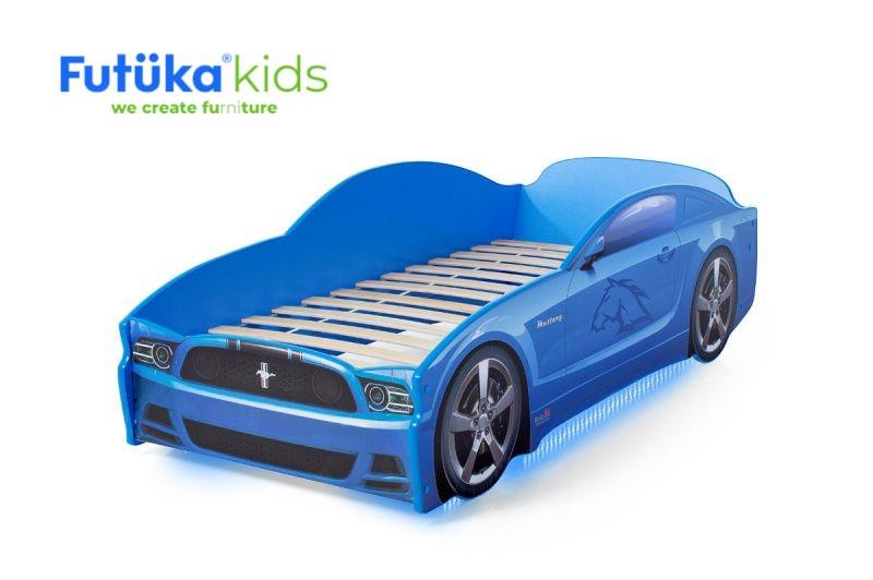 Postel auto LIGHT  F-Mustang  modrá, Spodní světlo