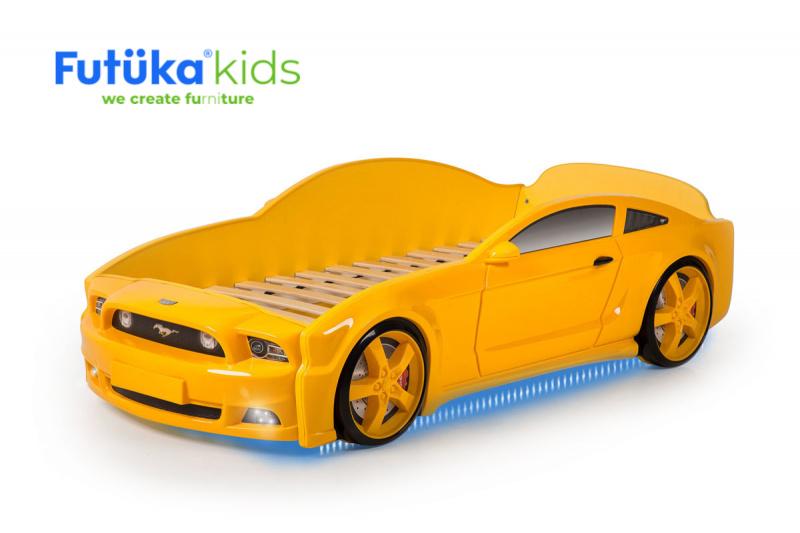 Postel auto LIGHT 3D F-Mustang žlutá, LED světla, Spodní světlo