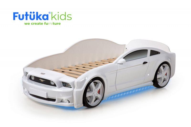 Postýlka auto MUSTANG 3D LIGHT bílá, LED světla, Spodní světlo