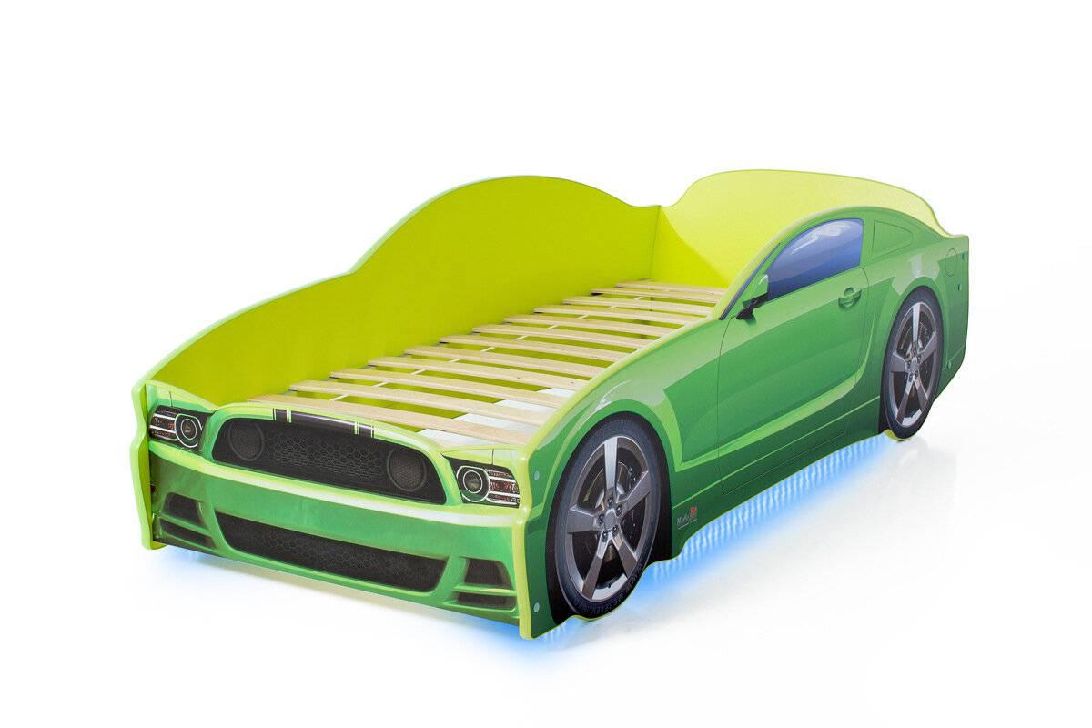 Postel auto LIGHT  F-Mustang  zelená, Spodní světlo