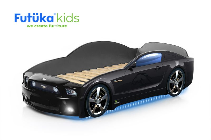 Postel auto LIGHT PLUS  F-Mustang  černá, LED světla, Spodní světlo