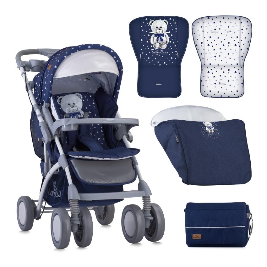 Kočárek TOLEDO DARK BLUE TEDDY BEAR + MAMA B