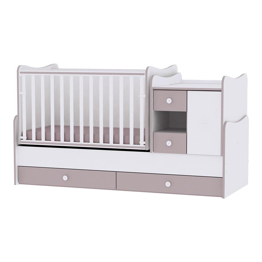 Multifunkční dětská postýlka Lorelli MINI MAX New 190x72 WHITE/CAPPUCCINO