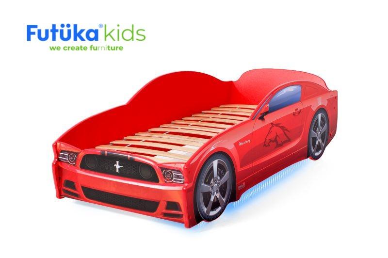 Postel auto LIGHT  F-Mustang  červená, Spodní světlo