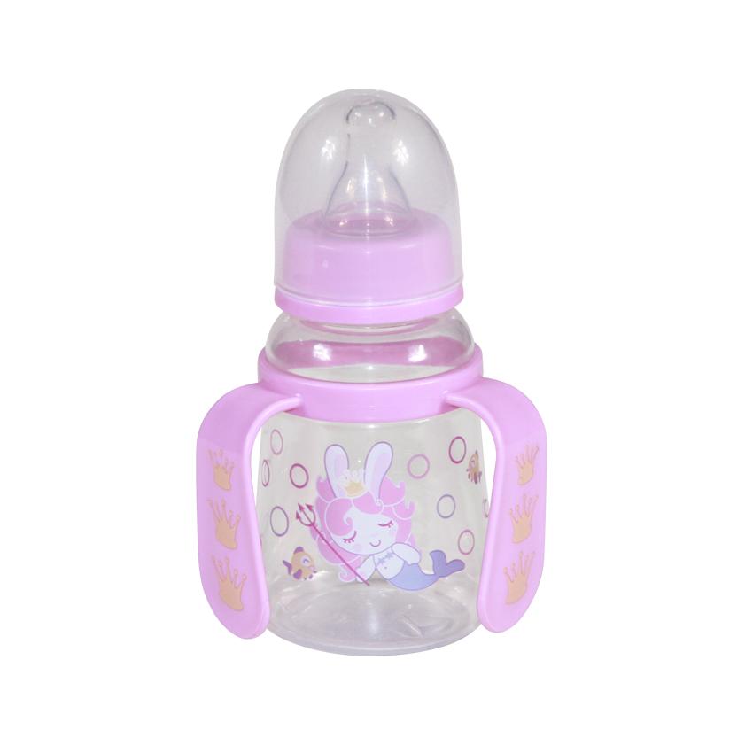 Detská fľaša/hrnček Lorelli so slamkou s uškami 125 ml PINK MERMAID