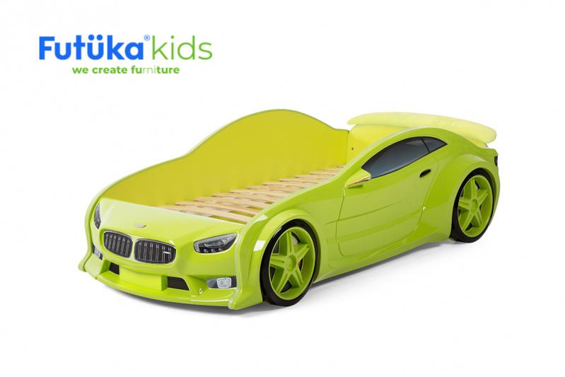Dětská postel auto Futuka kids EVO MOTOR + Spojler ZELENÁ