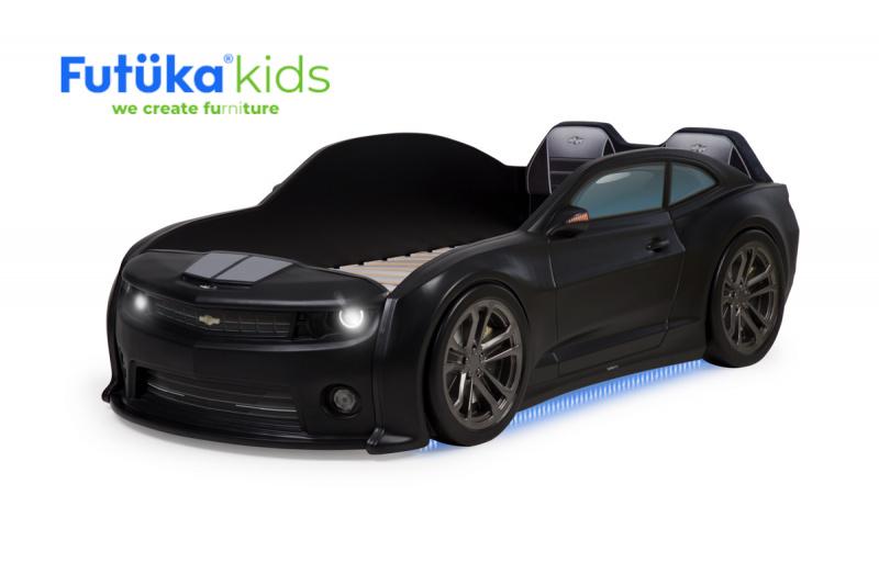 Postýlka auto EVO CAMARO černá, LED světla, Spodní světlo, Měkké čelo