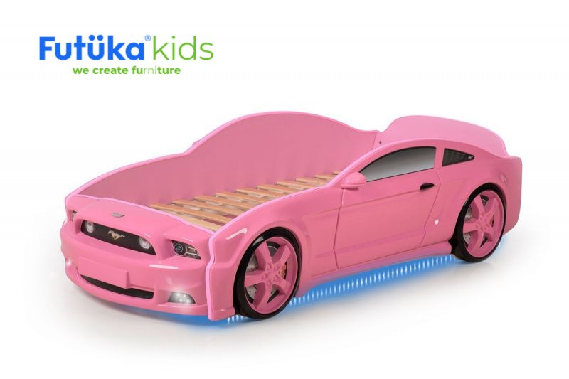 Postel auto LIGHT 3D F-Mustang  růžová, LED světla, Spodní světlo