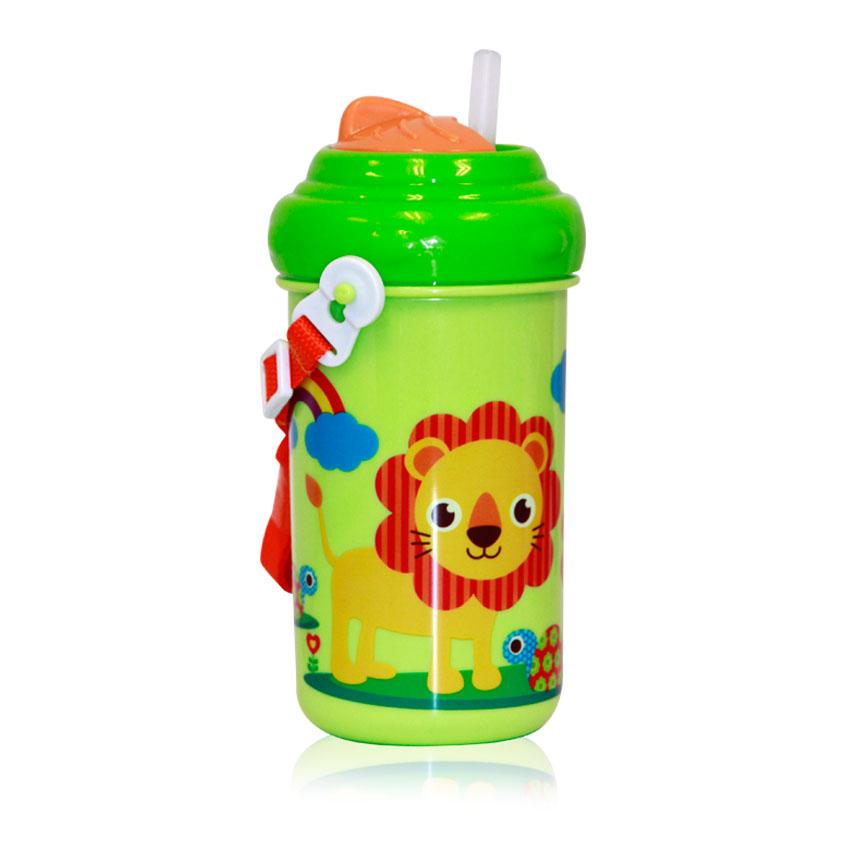 Detský pohár na pitie so slamkou 300 ML FUNNY ZOO GREEN