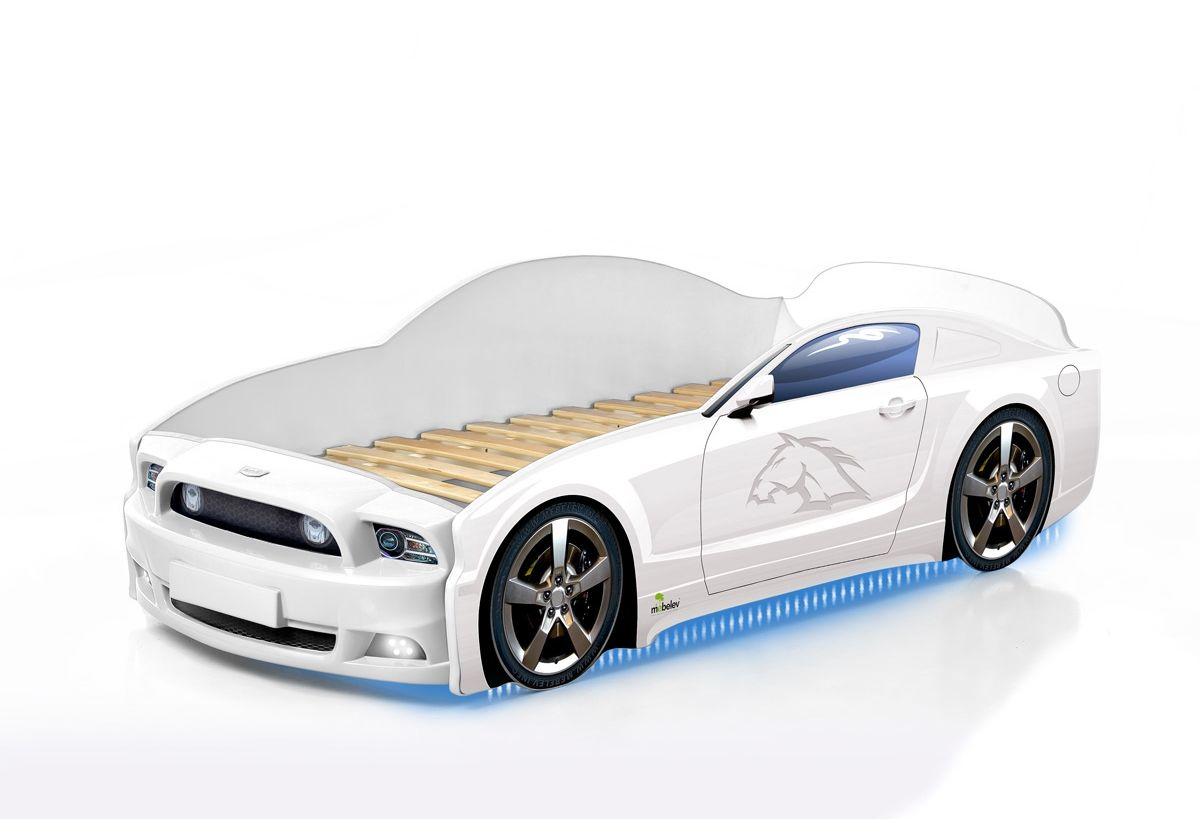 Postel auto LIGHT PLUS  F-Mustang  bílá, LED světla, Spodní světlo