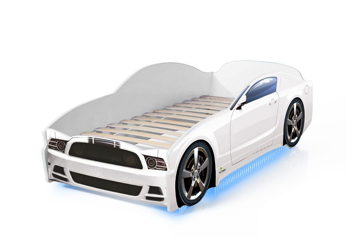 Postel auto LIGHT  F-Mustang  bílá, Spodní světlo