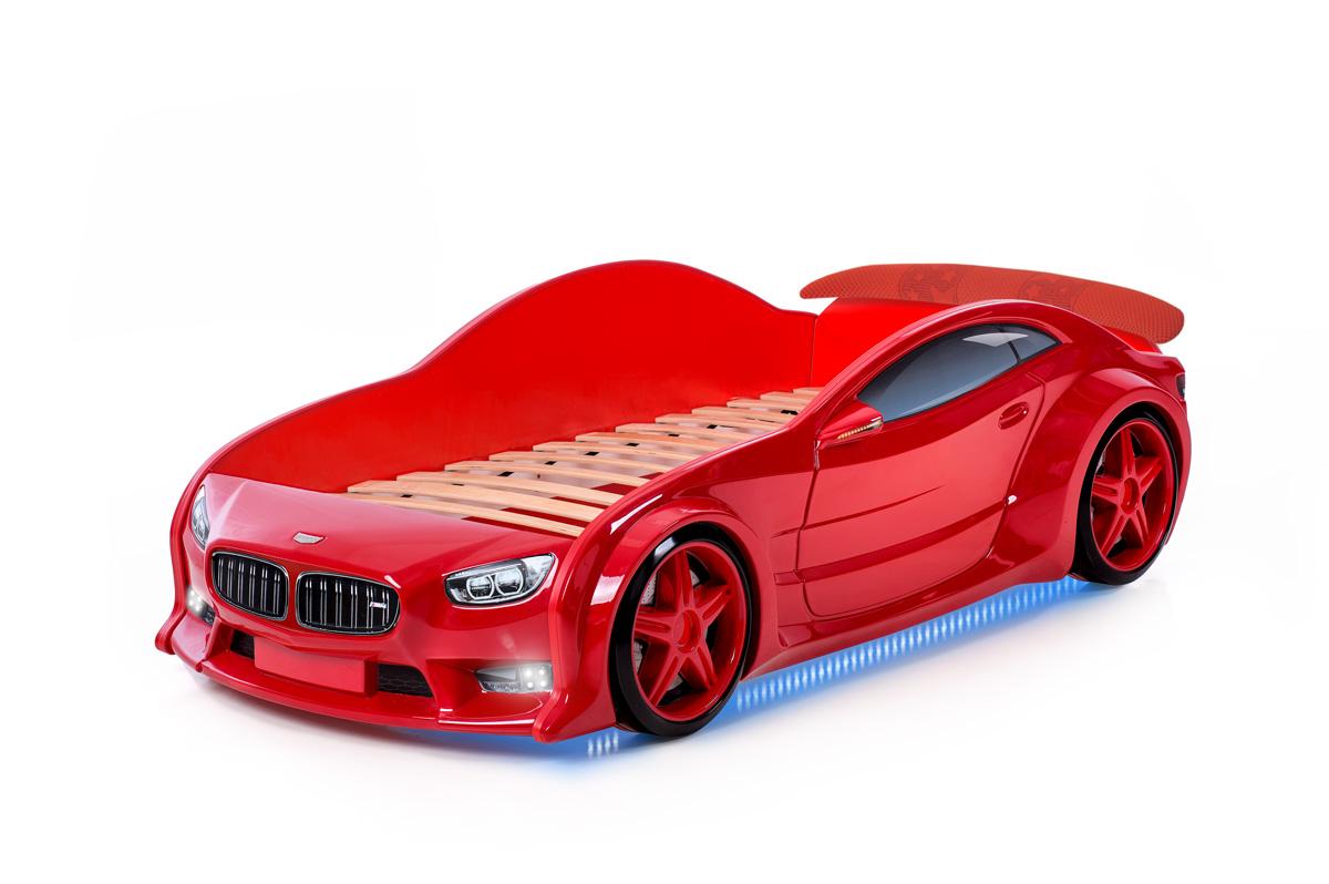 Postýlka auto EVO  červená, LED světla, Spodní světlo, Spojler