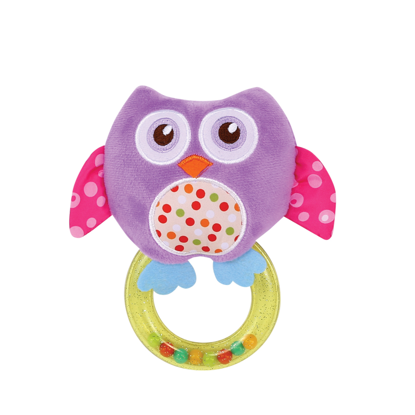 RATTLE WITH RING OWL PURPLE