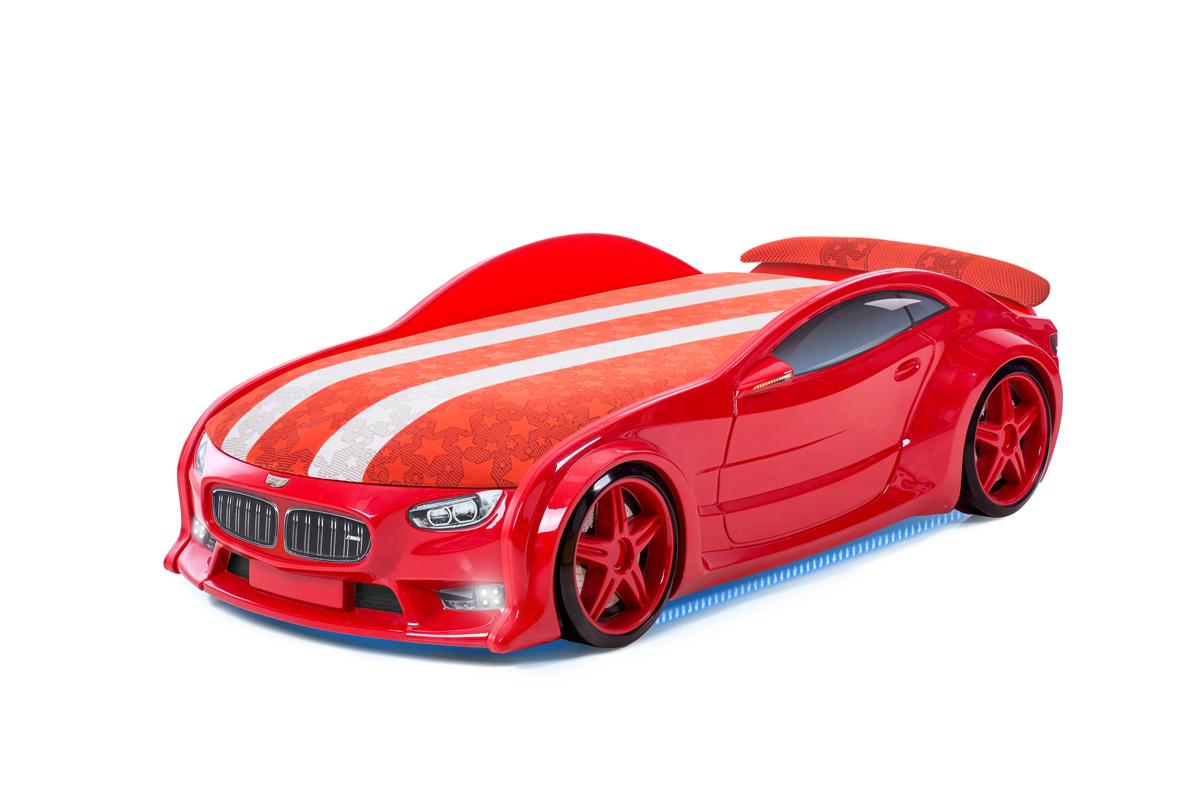 """Postýlka auto NEO  červená, """"S-Alcantara"""", LED světla, Spodní světlo, Spojler"""