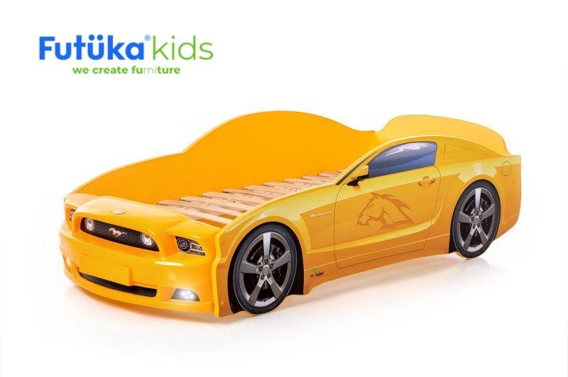 Postel auto LIGHT PLUS  F-Mustang  žlutá, LED světla