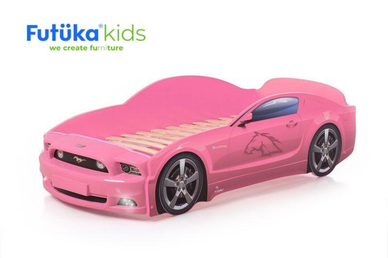 Postel auto LIGHT PLUS  F-Mustang  růžová, LED světla