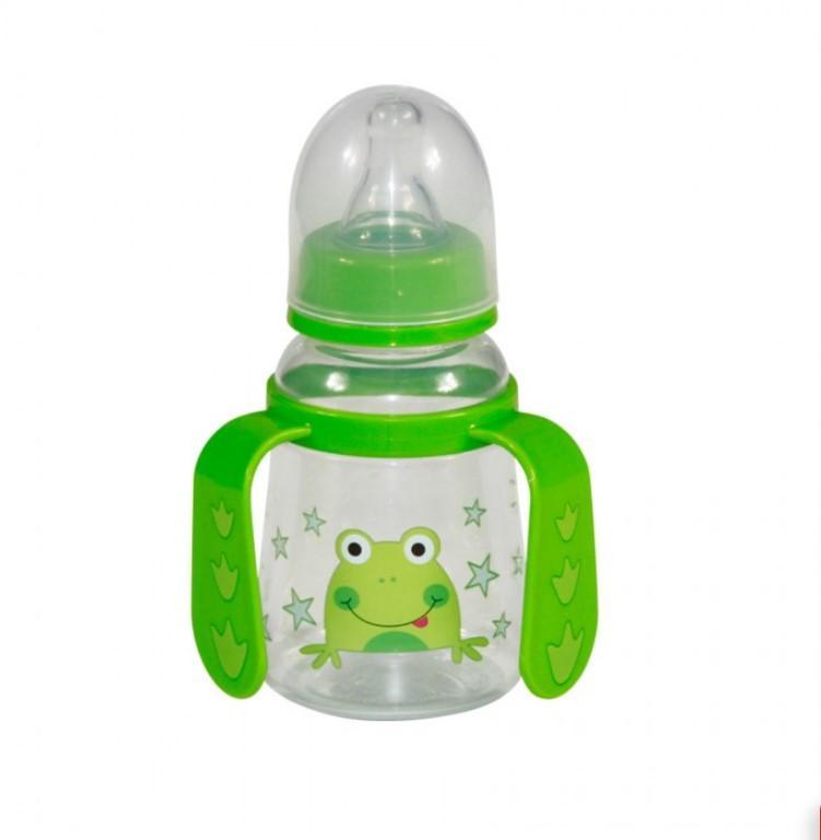Detská fľaša/hrnček Lorelli so slamkou s uškami 125 ml GREEN FROG