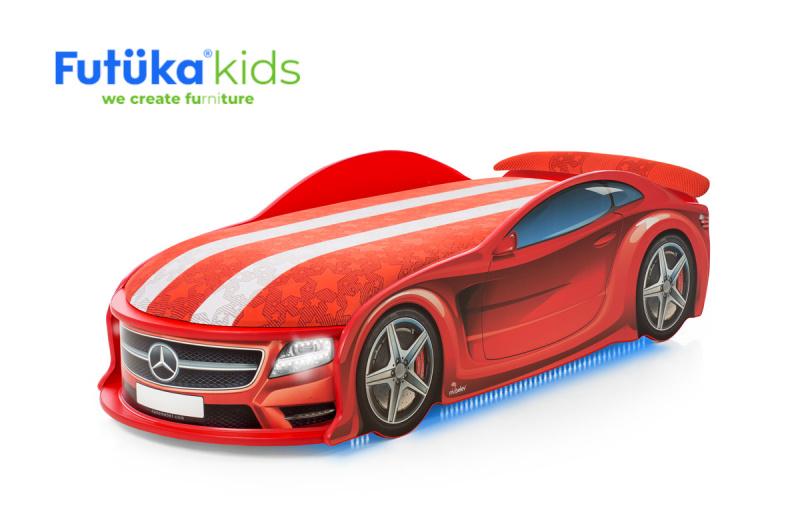 Dětská postel auto Futuka kids UNO STAR-M + Matrace S-Alcantara + LED světlomety + Spodní světlo + Spojler ČERVENÁ