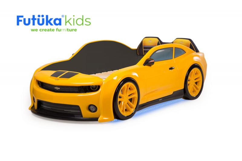 Postýlka auto EVO CAMARO žlutá, Spodní světlo, Měkké čelo