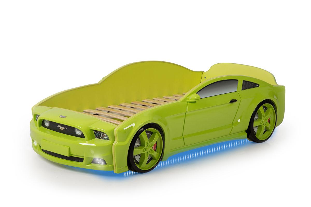 Postel auto LIGHT 3D F-Mustang zelená, LED světla, Spodní světlo