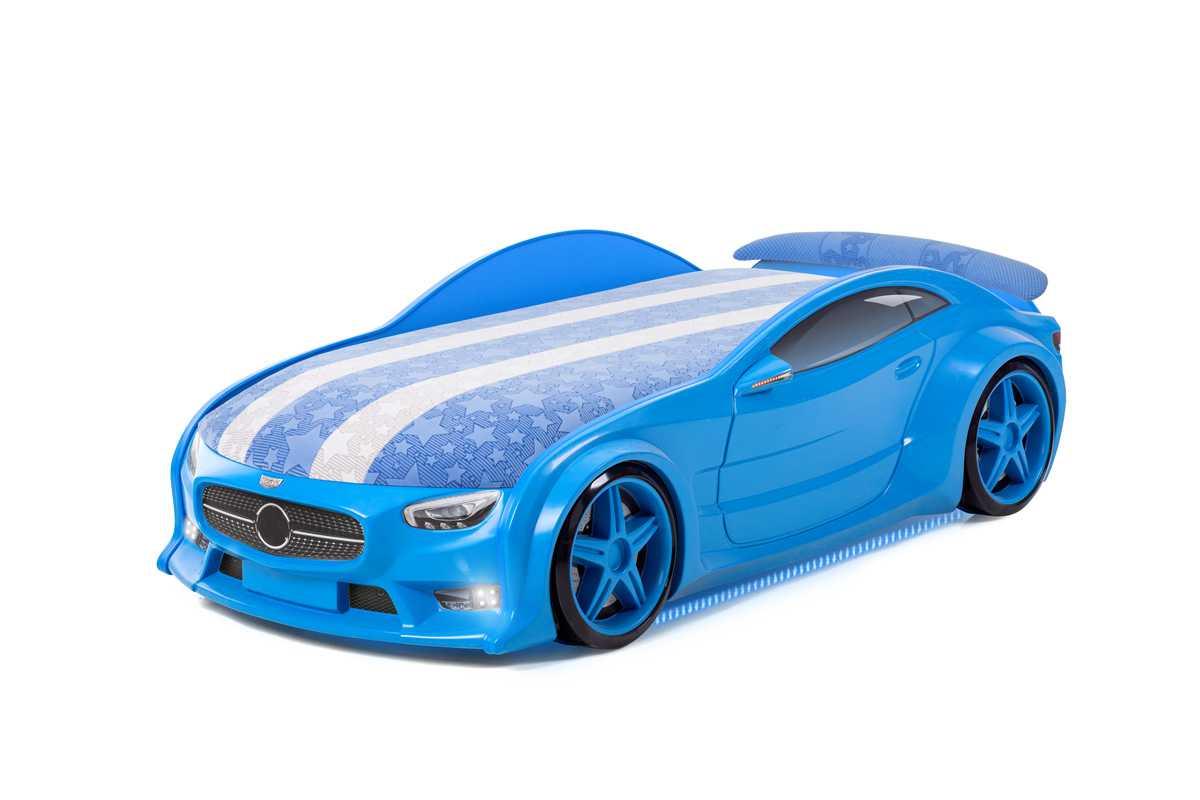 """Postýlka auto NEO  modrá,  """"S-Alcantara"""", LED světla, Spodní světlo, Spojler"""