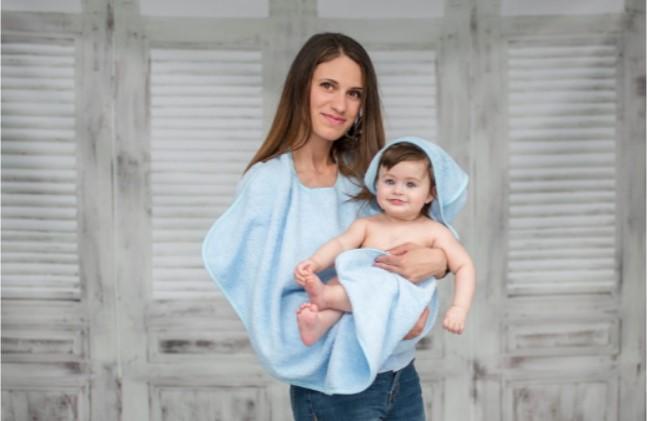 Dětská osuška s kapucí Lorelli DUO 80x100 cm BLUE