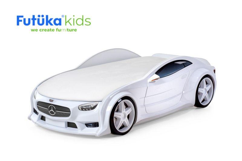 Postýlka auto NEO  bílá, S-Alcantara, LED světla, Spodní světlo, Spojler