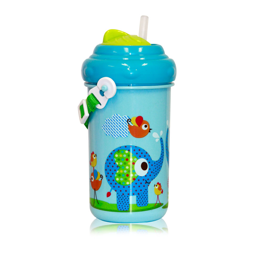 Detský pohár na pitie so slamkou 300 ML FUNNY ZOO BLUE