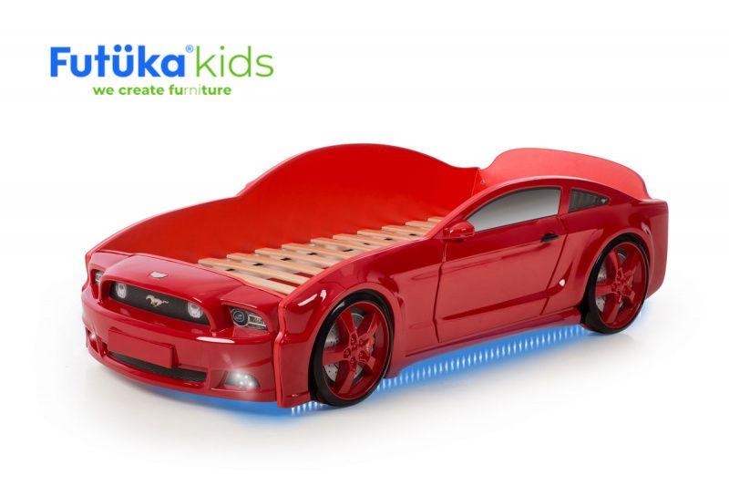 Postýlka auto MUSTANG 3D červená, LED světla, Spodní světlo