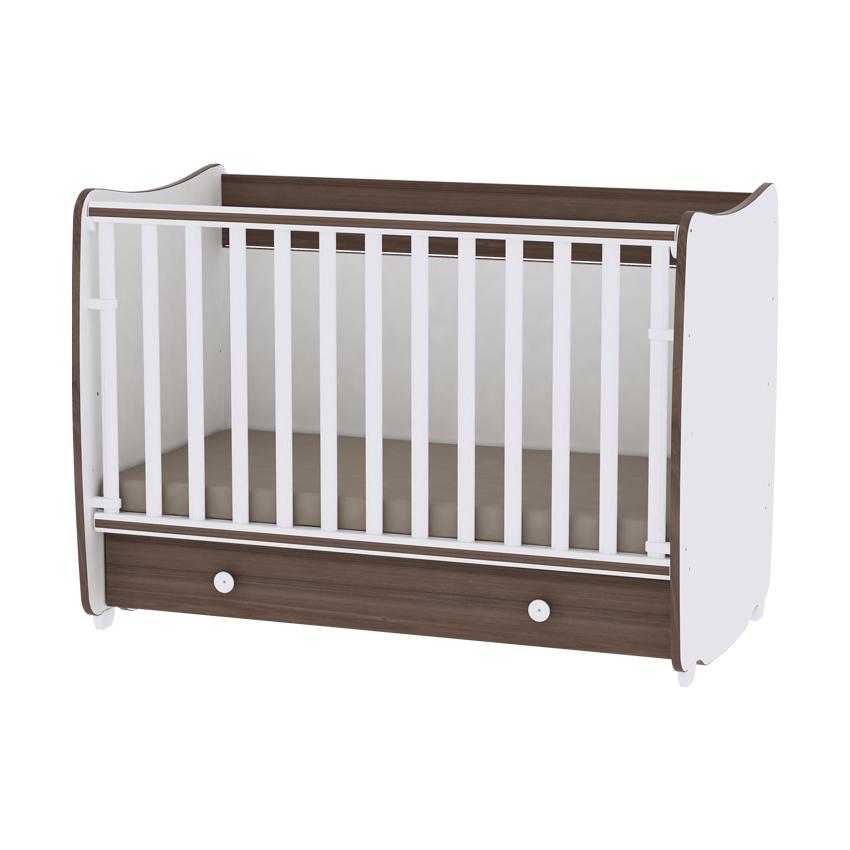 Multifunkčná detská postieľka Lorelli DREAM New 60x120 WHITE/WALNUT