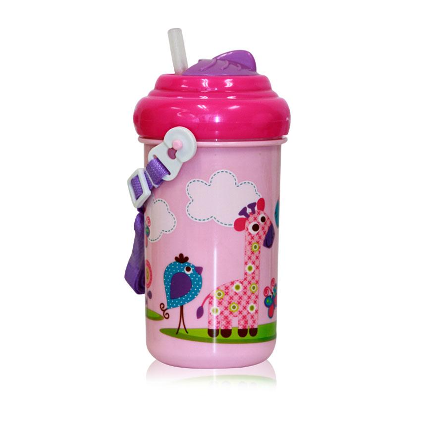 Detský pohár na pitie so slamkou 300 ML FUNNY ZOO PINK