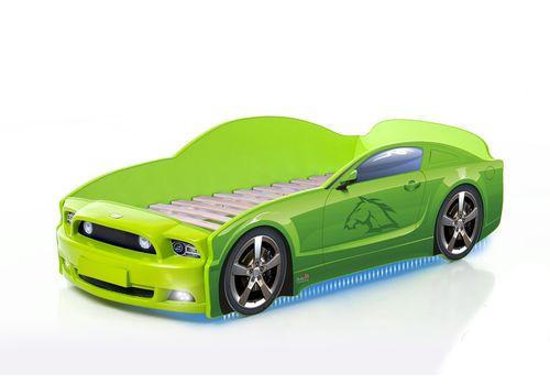Postel auto LIGHT PLUS  F-Mustang  zelená, LED světla, Spodní světlo