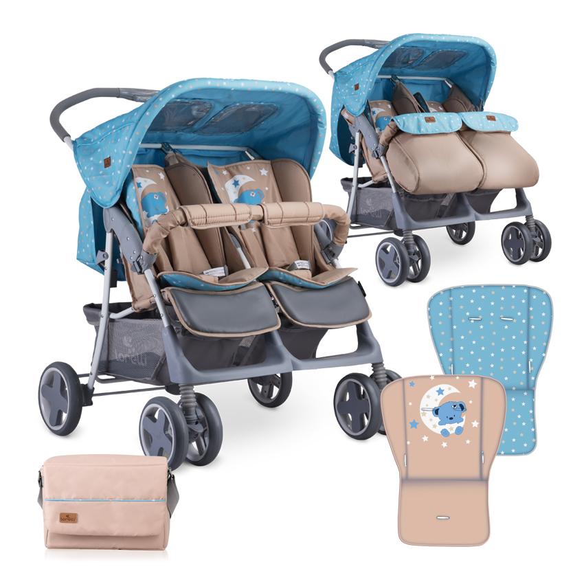 Kočárek pro dvojčata Lorelli TWIN BLUE&BEIGE MOON BEAR + Taška na kočárek