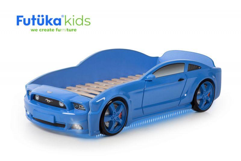 Postel auto LIGHT 3D F-Mustang modrá, LED světla, Spodní světlo