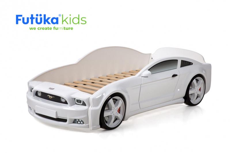 Dětská postel auto Futuka kids LIGHT 3D MG BÍLÁ