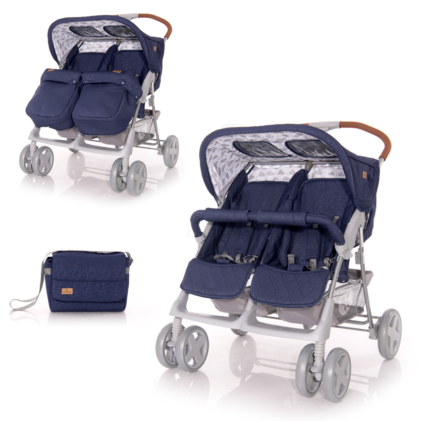 Kočárek TWIN DARK BLUE CLOUDS+Taška na kočárek